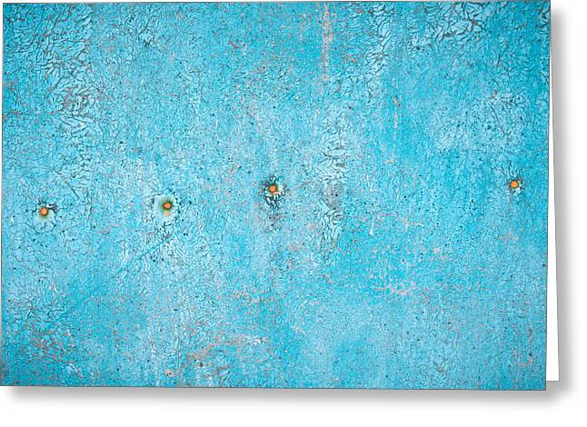 Junk Greeting Cards - Blue wood Greeting Card by Tom Gowanlock