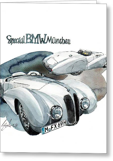 Special Greeting Cards - Special BMW Munchen Greeting Card by Yoshiharu Miyakawa