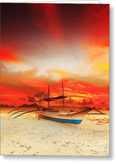 Palawan Greeting Cards - Boat at sunset Greeting Card by MotHaiBaPhoto Prints