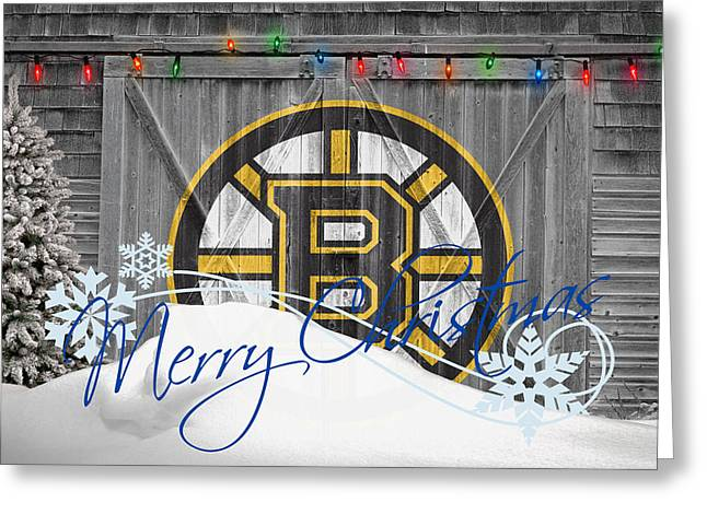 Ice Skates Greeting Cards - Boston Bruins Greeting Card by Joe Hamilton