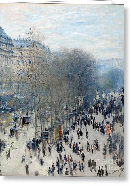 Vintage Painter Greeting Cards - Boulevard des Capucines Greeting Card by Claude Monet