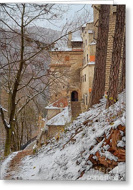 Medieval Entrance Greeting Cards - Bran Castle Greeting Card by Gabriela Insuratelu
