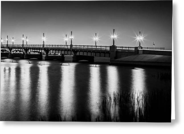 Bridge Of Lions St Augustine Florida Painted Bw Greeting Card by Rich Franco