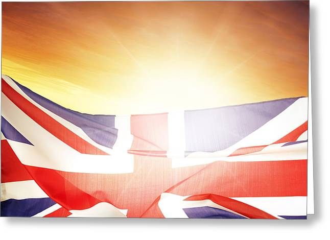 Flags Flying Greeting Cards - British flag Greeting Card by Les Cunliffe