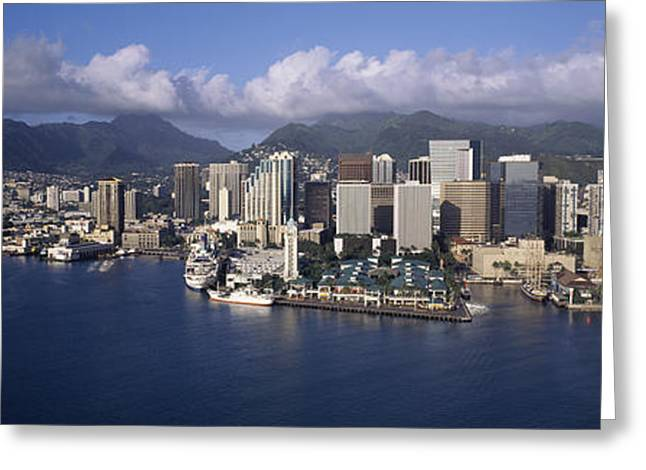 Ocean Photography Greeting Cards - Buildings At The Waterfront, Honolulu Greeting Card by Panoramic Images