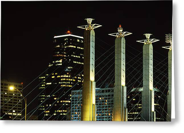 Convention Center Greeting Cards - Buildings Lit Up At Night In A City Greeting Card by Panoramic Images