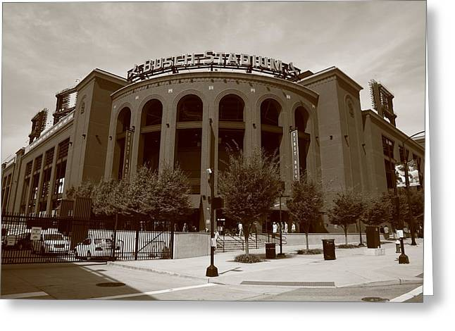 Sidewalks. Arches Greeting Cards - Busch Stadium - St. Louis Cardinals Greeting Card by Frank Romeo