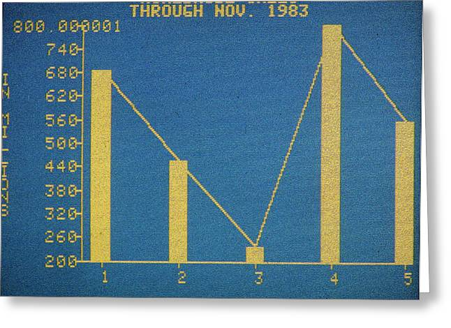 Line Graph Greeting Cards - BUSINESS SOFTWARE, c1983 Greeting Card by Granger