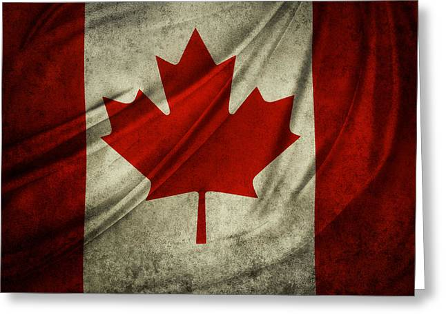 Patriotic Flag Greeting Cards - Canadian flag  Greeting Card by Les Cunliffe