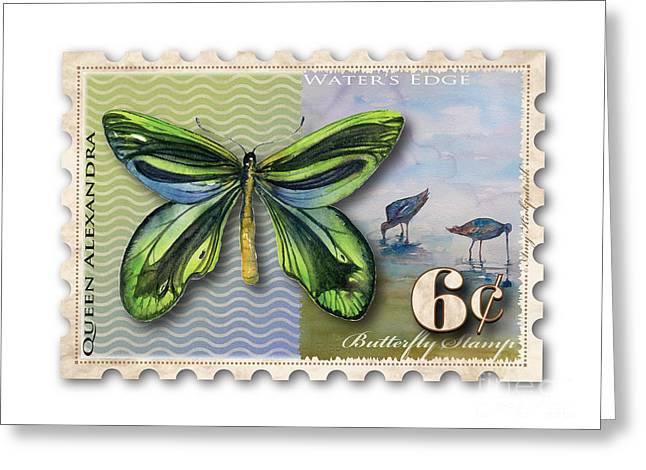 Queen Butterfly Greeting Cards - 6 Cent Butterfly Stamp Greeting Card by Amy Kirkpatrick