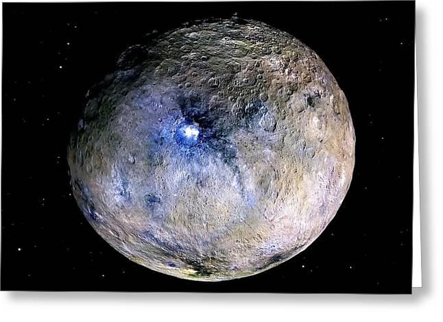 Ceres Greeting Card by Nasa/jpl-caltech/ucla/mps/dlr/ida