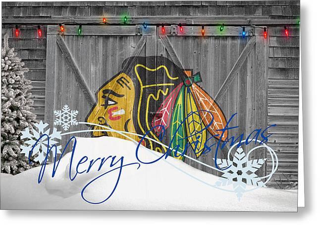 Snow Hockey Greeting Cards - Chicago Blackhawks Greeting Card by Joe Hamilton