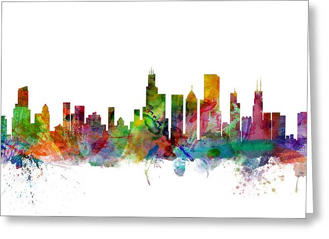 Urban Watercolour Greeting Cards - Chicago Illinois Skyline Greeting Card by Michael Tompsett