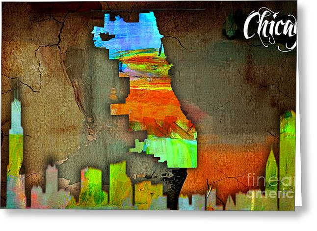 Chicago Map And Skyline Watercolor Greeting Card by Marvin Blaine