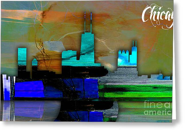 Chicago Greeting Cards - Chicago Skyline Watercolor Greeting Card by Marvin Blaine