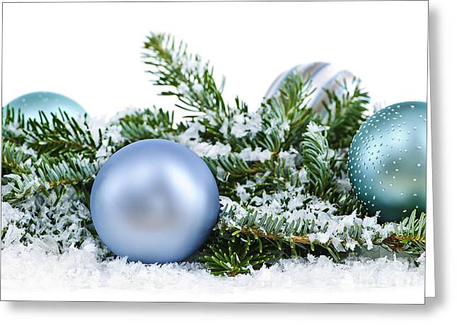 Glass.blue Greeting Cards - Christmas ornaments Greeting Card by Elena Elisseeva