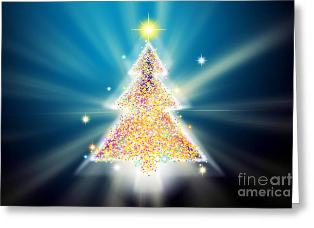 Backdrop Digital Art Greeting Cards - Christmas Tree Greeting Card by Atiketta Sangasaeng