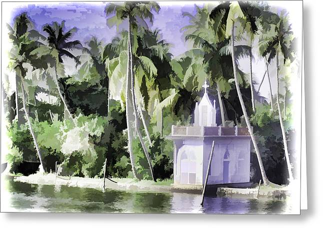 Next To Tree Greeting Cards - Church located next to a canal Greeting Card by Ashish Agarwal