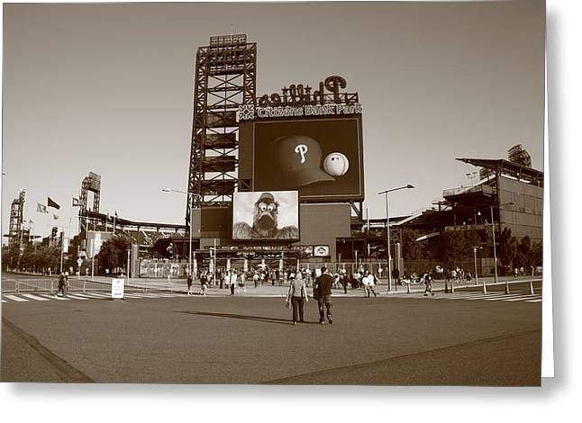 Fanatic Greeting Cards - Citizens Bank Park - Philadelphia Phillies Greeting Card by Frank Romeo