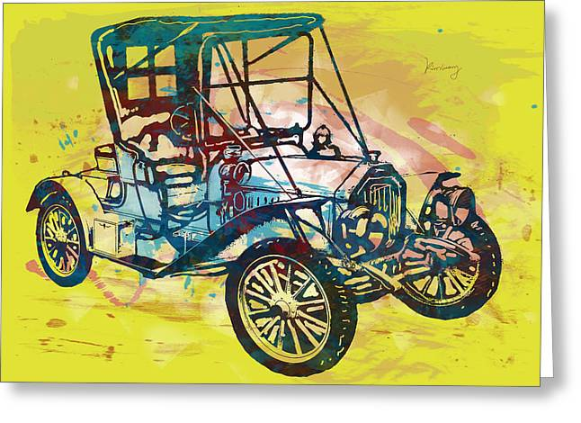 Stylized Mixed Media Greeting Cards - Classical car stylized pop art poster Greeting Card by Kim Wang