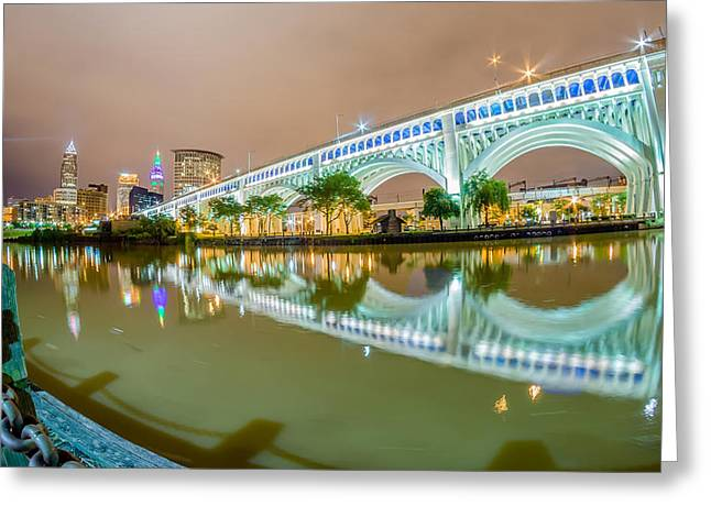 Illuminate Greeting Cards - Cleveland downtown on cloudy day Greeting Card by Alexandr Grichenko