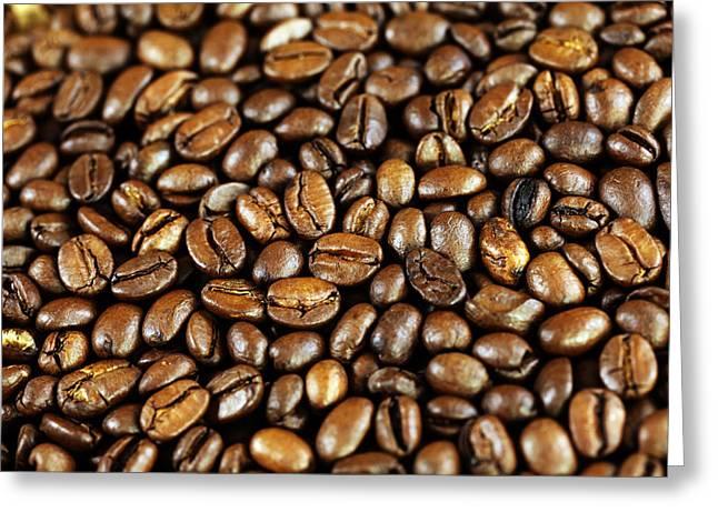 Kaffee Greeting Cards - Coffee beans Greeting Card by Falko Follert