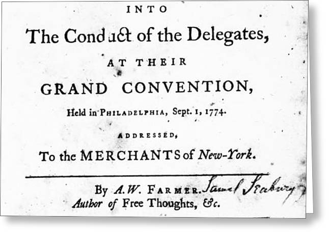 CONTINENTAL CONGRESS, 1774 Greeting Card by Granger