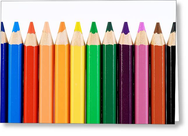 Preschool Greeting Cards - Crayons Greeting Card by Chevy Fleet