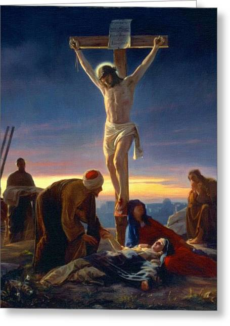 Catholic Art Greeting Cards - Crucifixion Greeting Card by Victor Gladkiy