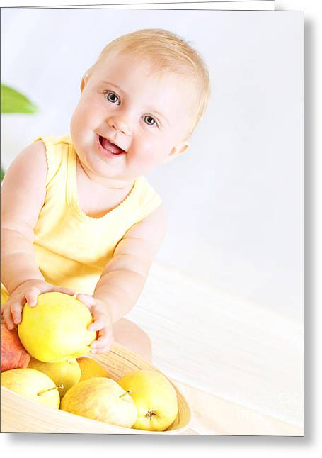 Kid Eating Snack Greeting Cards - Cute baby with fruits Greeting Card by Anna Omelchenko