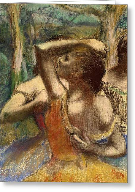 Back Pastels Greeting Cards - Dancers Greeting Card by Edgar Degas