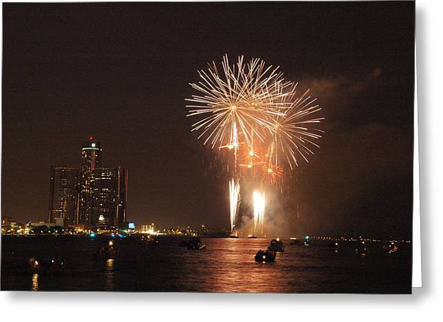 Fireworks Greeting Cards - Detroit Fireworks Greeting Card by Gary Marx