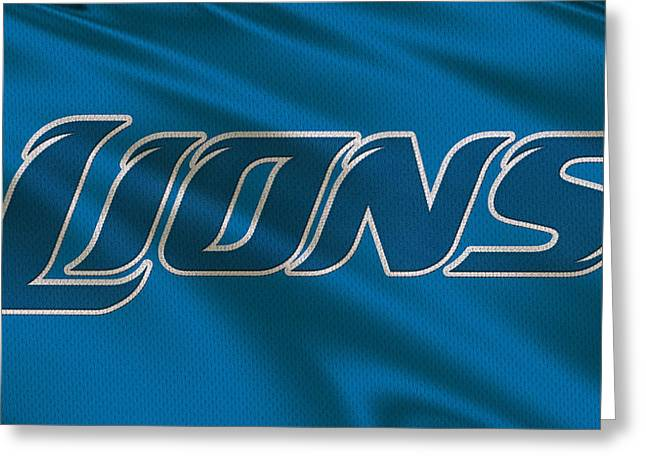 Lions Greeting Cards - Detroit Lions Uniform Greeting Card by Joe Hamilton
