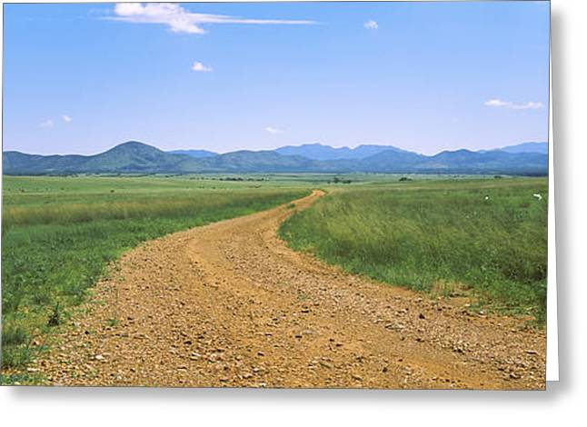 Dirt Image Greeting Cards - Dirt Road Passing Through A Landscape Greeting Card by Panoramic Images