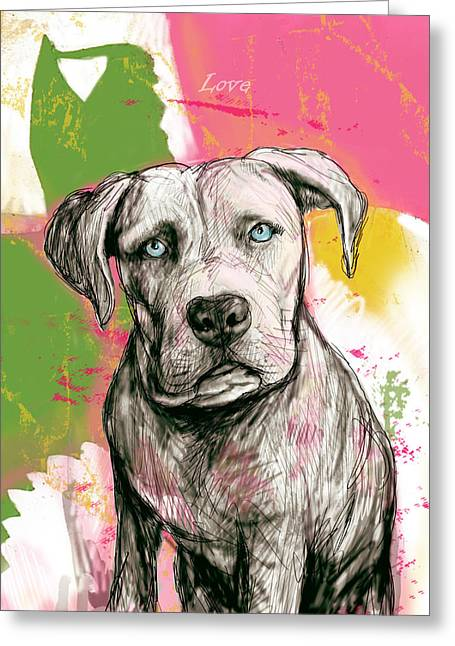 Pop Mixed Media Greeting Cards - Dog stylised pop modern art drawing sketch portrait Greeting Card by Kim Wang