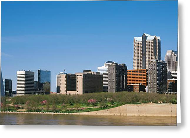 Mississippi River Scene Greeting Cards - Downtown Buildings And Gateway Arch Greeting Card by Panoramic Images