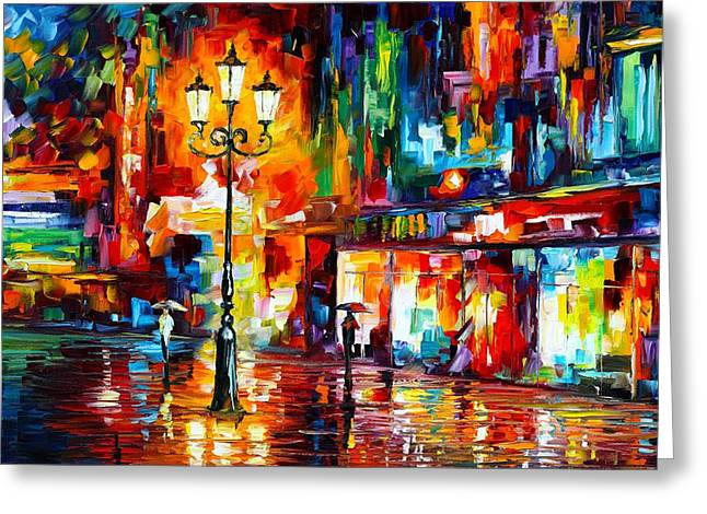 Owner Greeting Cards - Downtown Lights Greeting Card by Leonid Afremov