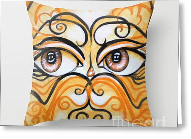 Fine Art Tapestries - Textiles Greeting Cards - Eyes of Color Greeting Card by Annette Jimerson