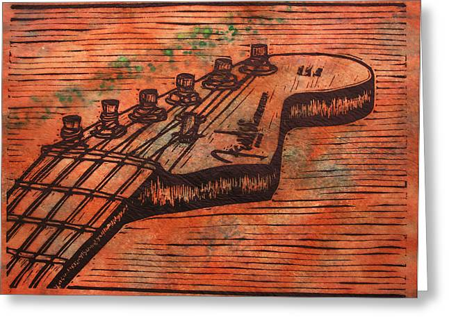 Recently Sold -  - Lino Print Greeting Cards - Fender Strat Greeting Card by William Cauthern