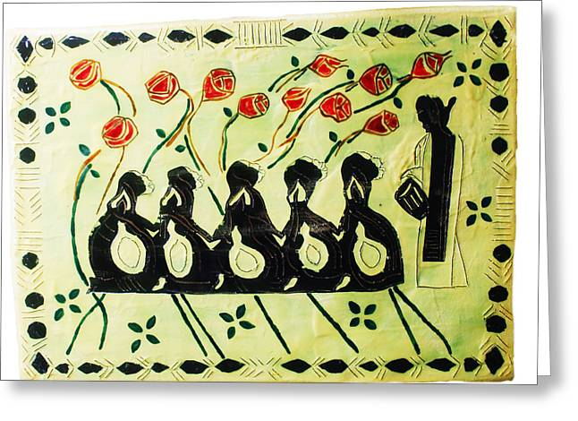Ten Virgins Ceramics Greeting Cards - Five Wise Virgins Greeting Card by Gloria Ssali