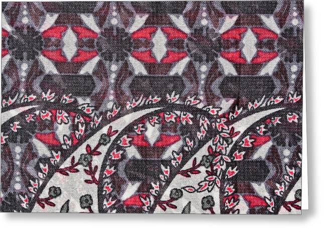 Ornate Pattern Greeting Cards - Floral fabric Greeting Card by Tom Gowanlock