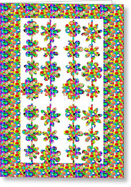 Reprint Greeting Cards - Flower Pattern using Artist Created Color Tone n Textures DIY Template Download License Print Rights Greeting Card by Navin Joshi