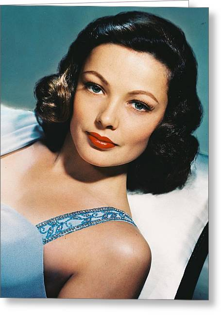 Tierney Greeting Cards - Gene Tierney Greeting Card by Silver Screen