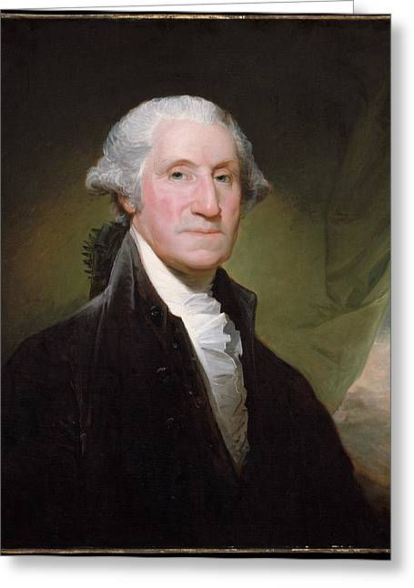 Independence Day Paintings Greeting Cards - George Washington Greeting Card by Gilbert Stuart