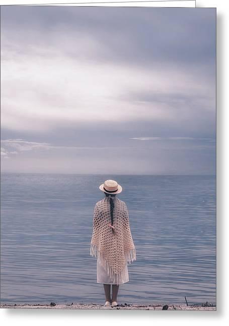 Plaits Greeting Cards - Girl At The Sea Greeting Card by Joana Kruse