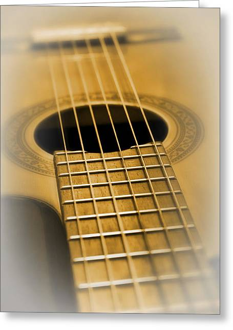 Sound Board Greeting Cards - 6 Golden Strings Greeting Card by Daniel Hagerman