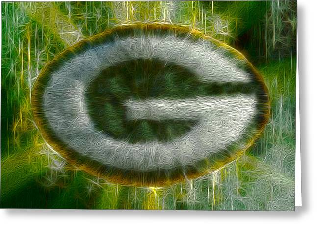 Winter Sports Art Prints Greeting Cards - Green Bay Packers Greeting Card by Jack Zulli