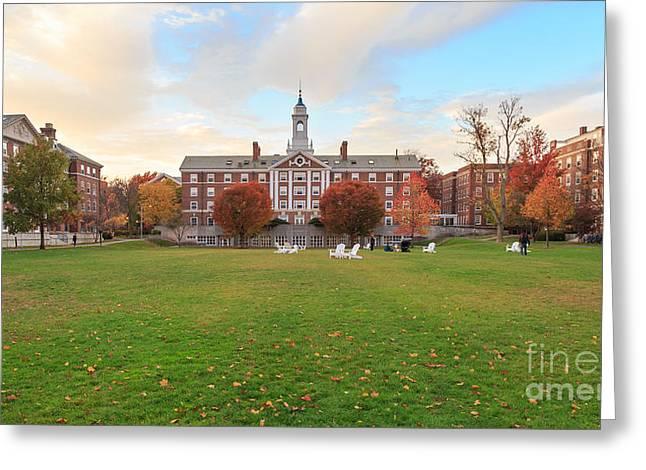 Red School House Greeting Cards - Harvard Moors Hall Greeting Card by Jannis Werner