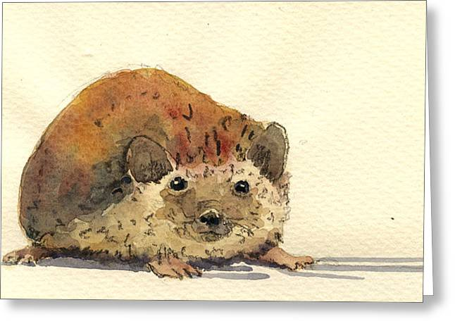 Forest Art Greeting Cards - Hedgehog Greeting Card by Juan  Bosco