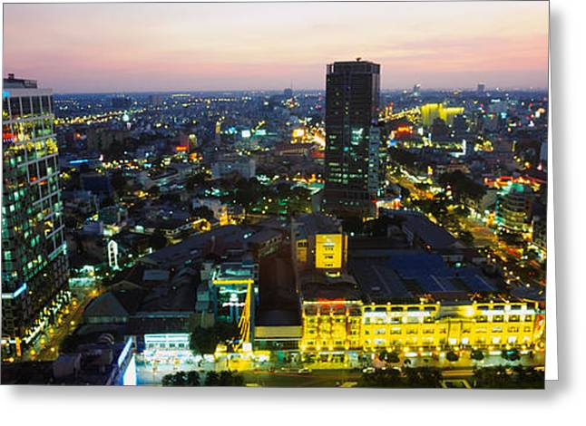 Ho Ho Ho Greeting Cards - High Angle View Of A City Lit Greeting Card by Panoramic Images